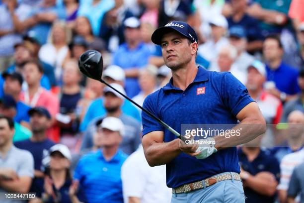 Adam Scott of Australia plays his shot from the first tee during the second round of the BMW Championship at Aronimink Golf Club on September 7 2018...