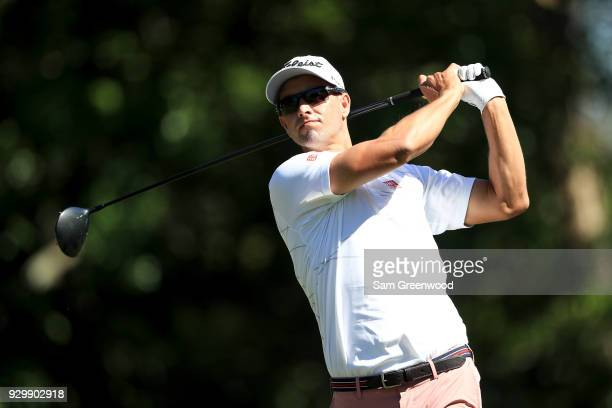 Adam Scott of Australia plays his shot from the ninth tee during the second round of the Valspar Championship at Innisbrook Resort Copperhead Course...
