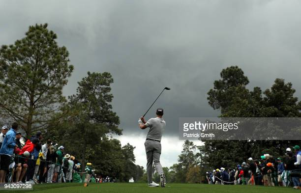 Adam Scott of Australia plays his shot from the ninth tee during the third round of the 2018 Masters Tournament at Augusta National Golf Club on...