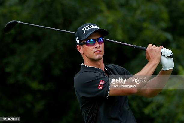 Adam Scott of Australia plays his shot from the sixth tee during the First Round of the DEAN DELUCA Invitational at Colonial Country Club on May 26...