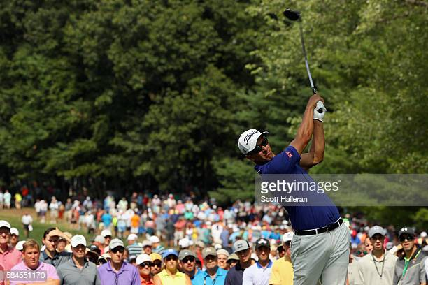 Adam Scott of Australia plays his shot from the sixth tee during the second round of the 2016 PGA Championship at Baltusrol Golf Club on July 29,...
