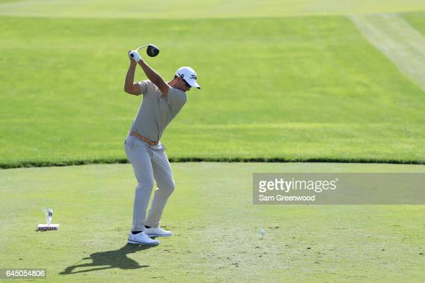 Adam Scott of Australia plays his shot from the tenth tee during the second round of The Honda Classic at PGA National Resort and Spa on February 24...