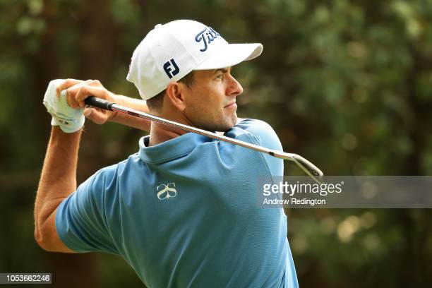 Adam Scott of Australia plays his shot from the third tee during the second round of the WGC HSBC Champions at Sheshan International Golf Club on...