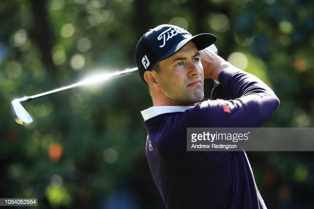 Adam Scott of Australia plays his shot from the third tee during the third round of the WGC HSBC Champions at Sheshan International Golf Club on...