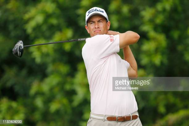 Adam Scott of Australia plays his shot from the third tee during the first round of the Honda Classic at PGA National Resort and Spa on February 28...