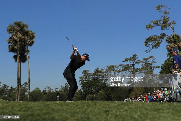 Adam Scott of Australia plays his shot from the third tee during the second round of THE PLAYERS Championship at the Stadium course at TPC Sawgrass...