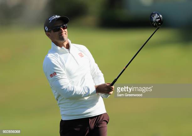 Adam Scott of Australia plays his shot on the 16th hole during the second round at the Arnold Palmer Invitational Presented By MasterCard at Bay Hill...