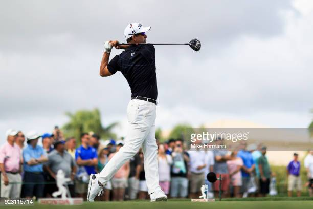 Adam Scott of Australia plays his tee shot from the 13th hole during the first round of the Honda Classic at PGA National Resort and Spa on February...