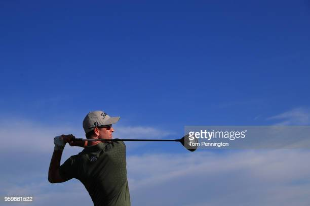 Adam Scott of Australia plays his tee shot on the 11th hole during the second round of the AT&T Byron Nelson at Trinity Forest Golf Club on May 18,...