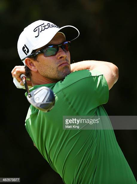 Adam Scott of Australia plays his tee shot on the 4th hole during day three of the Australian Open at Royal Sydney Golf Club on November 30 2013 in...