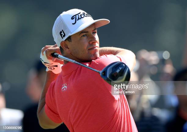 Adam Scott of Australia plays his tee shot on the par 4 second hole during the final round of the Genesis Invitational at The Riviera Country Club on...