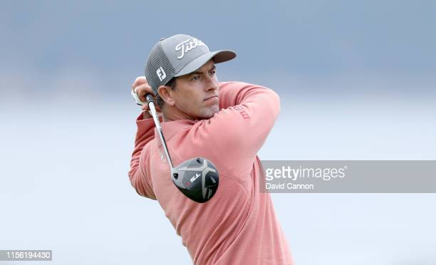 Adam Scott of Australia plays his tee shot on the par 5 18th hole during the third round of the 2019 USOpen Championship at the Pebble Beach Golf...