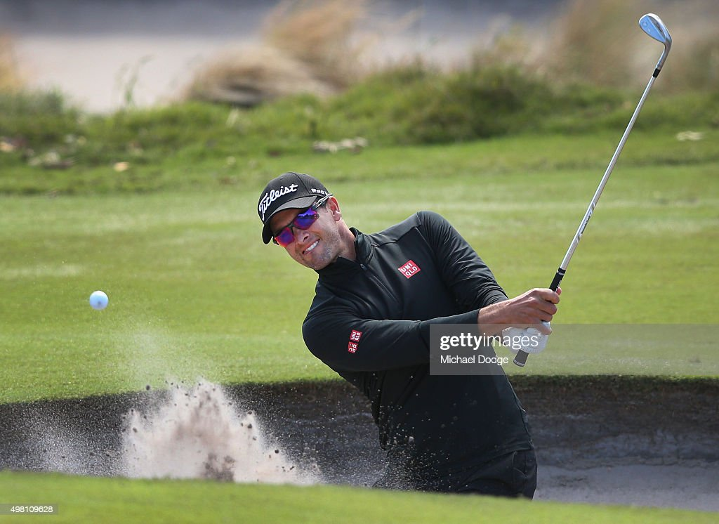 Adam Scott of Australia plays out of the bunker during day three of the 2015 Australian Masters at Huntingdale Golf Club on November 21, 2015 in Melbourne, Australia.
