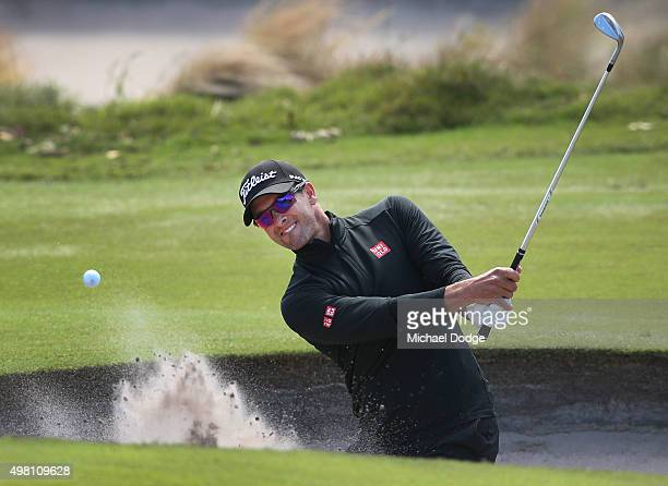 Adam Scott of Australia plays out of the bunker during day three of the 2015 Australian Masters at Huntingdale Golf Club on November 21, 2015 in...