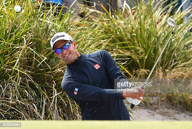 Adam Scott of Australia plays out of the bunker during day two of the World Cup of Golf at Kingston Heath Golf Club on November 25 2016 in Melbourne...