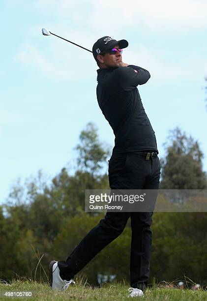 Adam Scott of Australia plays out of the rough during day three of the 2015 Australian Masters at Huntingdale Golf Club on November 21, 2015 in...