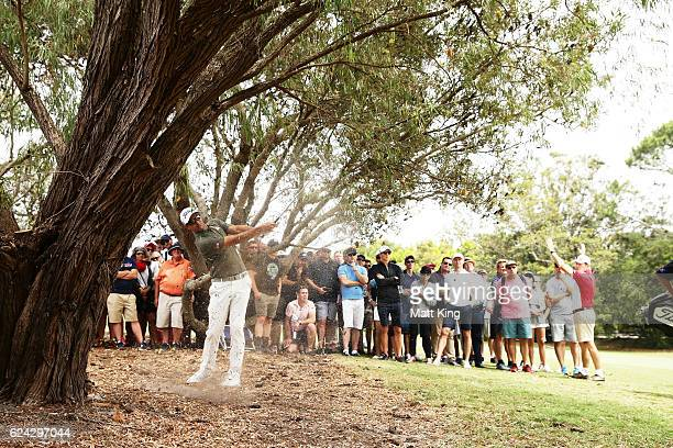 Adam Scott of Australia plays out of the rough on the 7th hole during day three of the Australian Open at Royal Sydney Golf Club on November 19 2016...