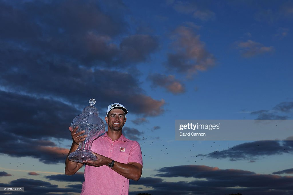 Adam Scott of Australia proudly holds the 2016 Honda Classic trophy after his one shot victory over Sergio Garcia of Spain during the final round of the Honda Classic at PGA National Resort & Spa - Champions Course on February 28, 2016 in Palm Beach Gardens, Florida.