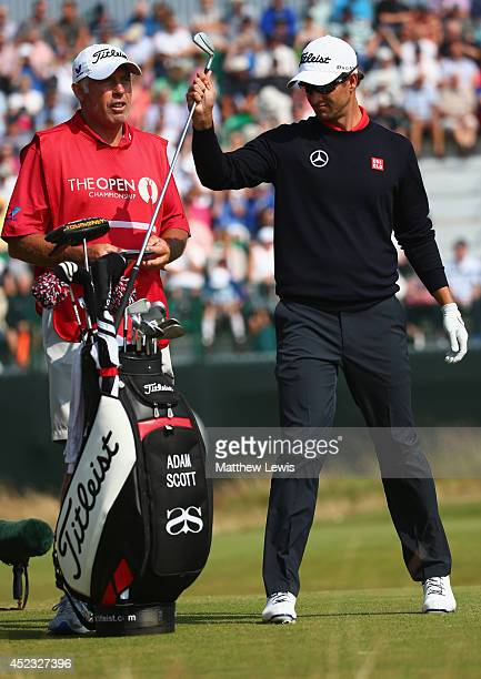 Adam Scott of Australia pulls a club on the fourth tee during the second round of The 143rd Open Championship at Royal Liverpool on July 18 2014 in...