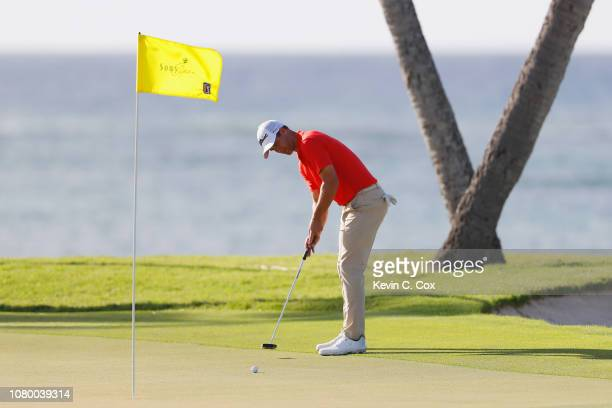 Adam Scott of Australia putts on the 16th green during the first round of the Sony Open In Hawaii at Waialae Country Club on January 10 2019 in...