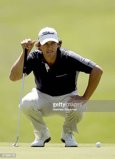 Adam Scott of Australia putts on the 18th green during the second round of the EDS Byron Nelson Championship on the Cottonwood Valley Course at the...