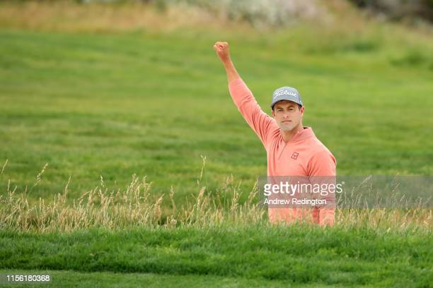 Adam Scott of Australia reacts after a birdie on the 17th hole during the third round of the 2019 US Open at Pebble Beach Golf Links on June 15 2019...