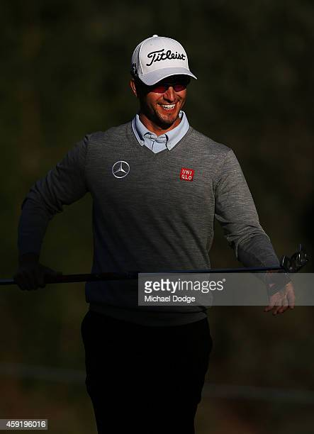 Adam Scott of Australia reacts after a putt during the ProAm ahead of the 2014 Australian Masters at The Metropolitan Golf Course on November 19 2014...