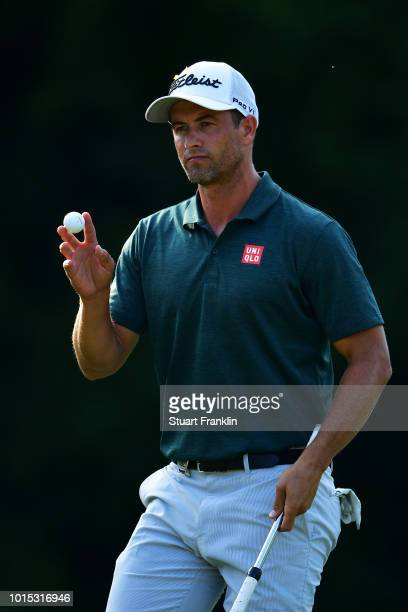 Adam Scott of Australia reacts on the 17th green during the third round of the 2018 PGA Championship at Bellerive Country Club on August 11 2018 in...