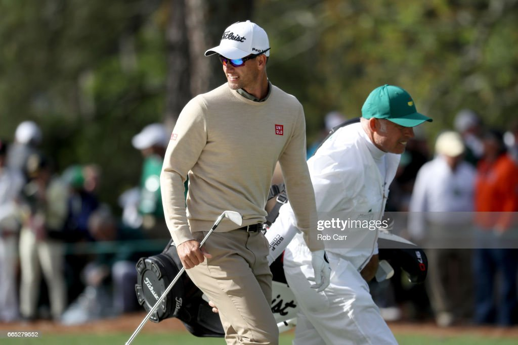 Adam Scott of Australia reacts on the first hole after playing a bunker shot during the first round of the 2017 Masters Tournament at Augusta National Golf Club on April 6, 2017 in Augusta, Georgia.