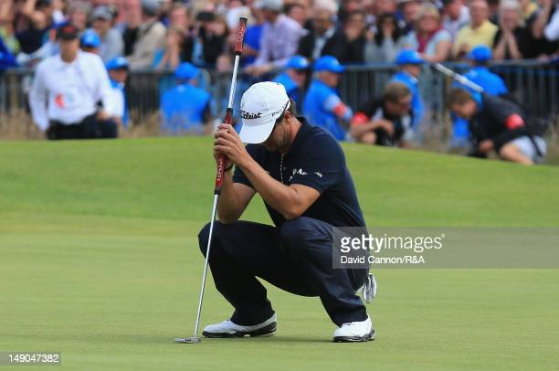 Adam Scott of Australia reacts to a missed putt for par on the 18th hole during the final round of the 141st Open Championship at Royal Lytham & St....