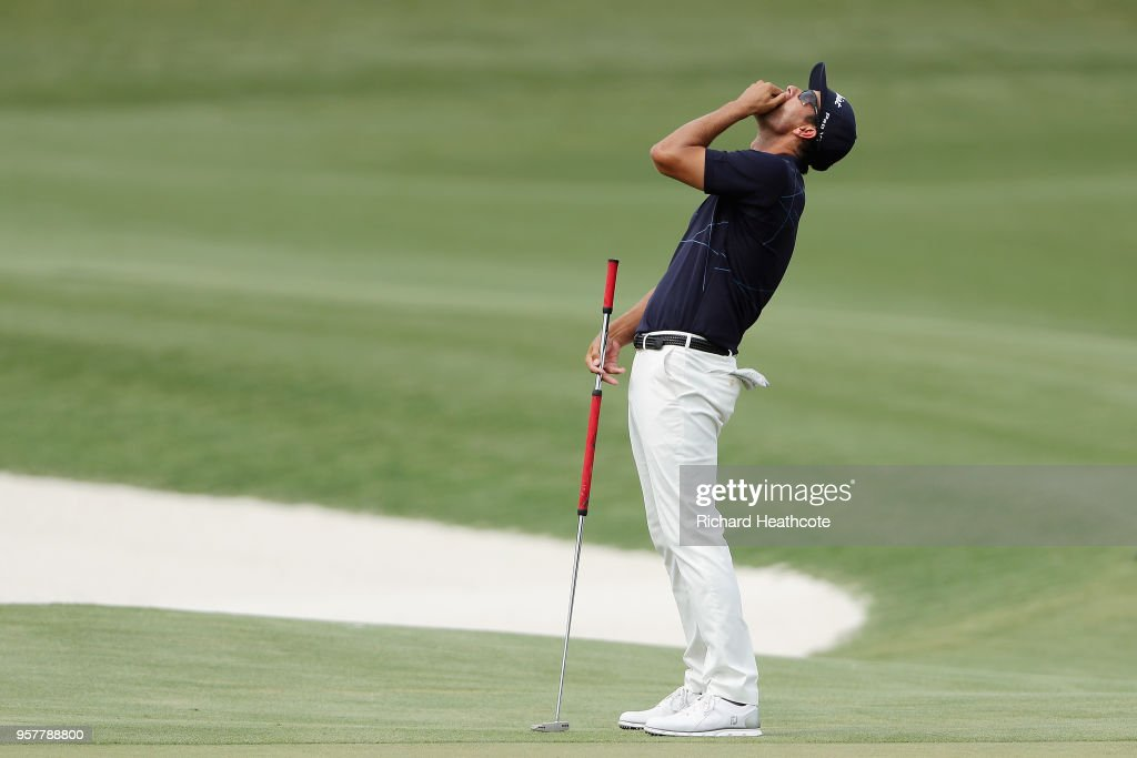 Adam Scott of Australia reacts to a missed putt on the 11th green during the third round of THE PLAYERS Championship on the Stadium Course at TPC Sawgrass on May 12, 2018 in Ponte Vedra Beach, Florida.