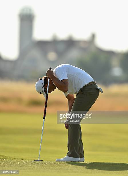 Adam Scott of Australia reacts to a missed putt on the 16th hole during the first round of The 143rd Open Championship at Royal Liverpool on July 17...