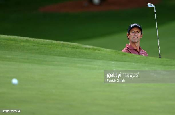 Adam Scott of Australia reacts to a shot on the seventh hole during the first round of the Masters at Augusta National Golf Club on November 12, 2020...