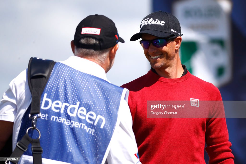 Adam Scott of Australia reacts to his caddie Steve Williams during the final round of the AAM Scottish Open at Dundonald Links Golf Course on July 16, 2017 in Troon, Scotland.