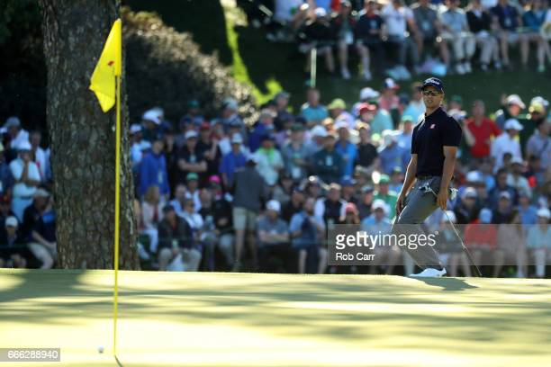 Adam Scott of Australia reacts to his putt on the 15th hole during the third round of the 2017 Masters Tournament at Augusta National Golf Club on...