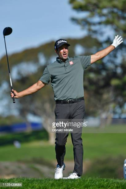 Adam Scott of Australia reacts to his tee shot on the fifth hole on the South Course during the final round of the the 2019 Farmers Insurance Open at...