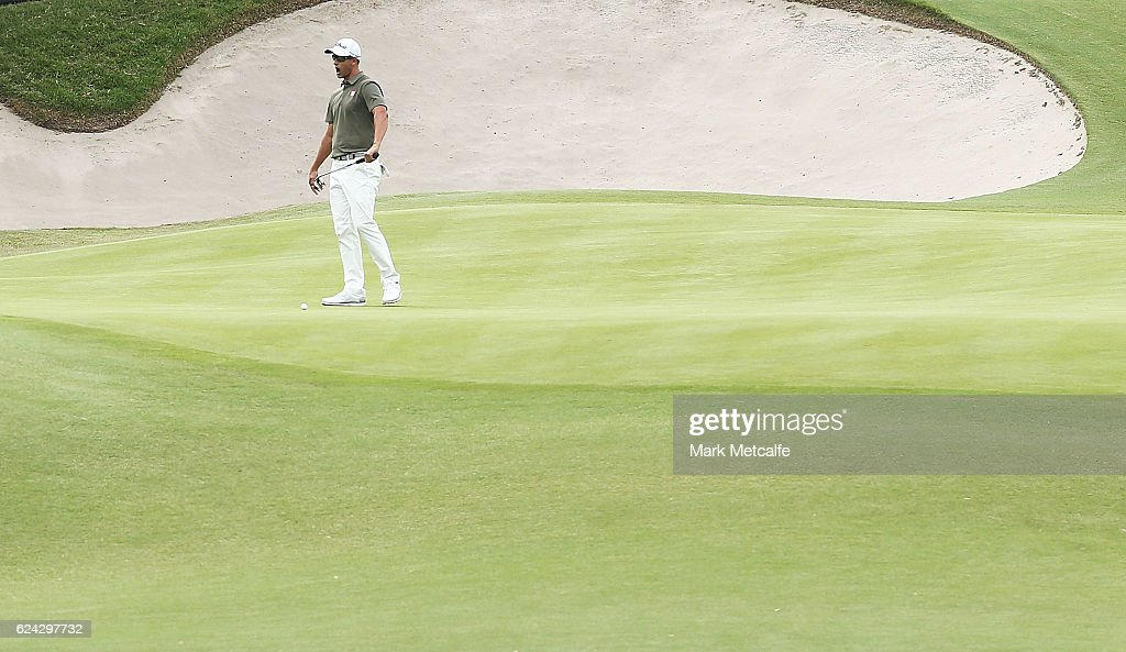 Adam Scott of Australia reacts to missing a putt on the 18th green during day three of the Australian golf Open at Royal Sydney GC at Royal Sydney Golf Club on November 19, 2016 in Sydney, Australia.