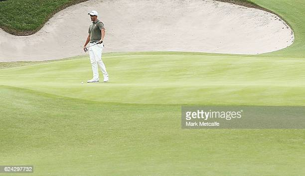 Adam Scott of Australia reacts to missing a putt on the 18th green during day three of the Australian golf Open at Royal Sydney GC at Royal Sydney...