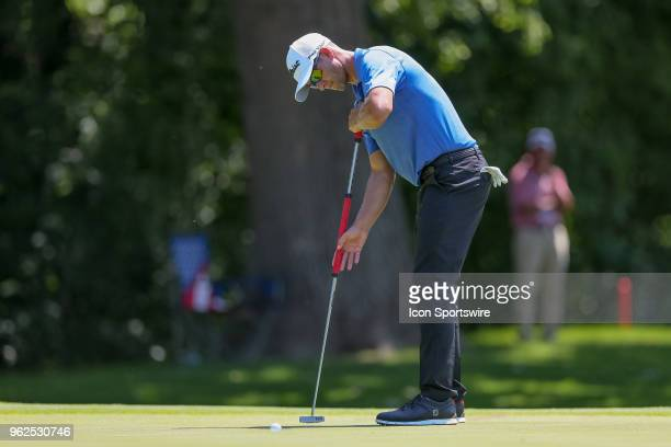 Adam Scott of Australia sinks his putt on during the second round of the Fort Worth Invitational on May 25 2018 at Colonial Country Club in Fort...