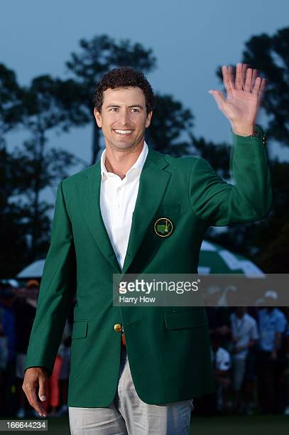 Adam Scott of Australia smiles while wearing his green jacket after winning the 2013 Masters Tournament at Augusta National Golf Club on April 14...
