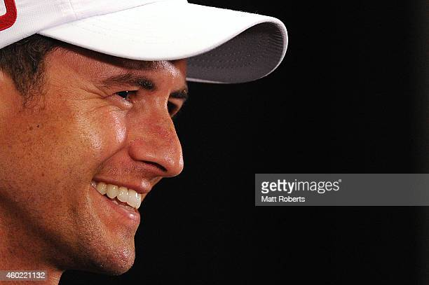 Adam Scott of Australia speaks during a press conference ahead of the 2014 Australian PGA Championship at Royal Pines Resort on December 10 2014 on...