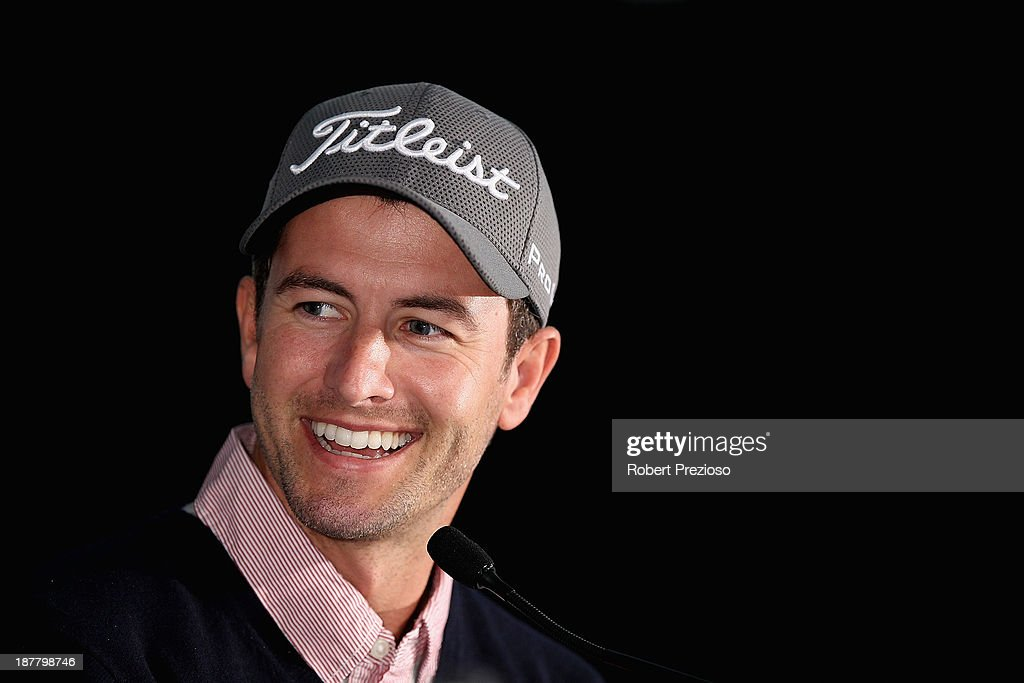Adam Scott of Australia speaks during the Pro Am ahead of the 2013 Australian Masters at Royal Melbourne Golf Course on November 13, 2013 in Melbourne, Australia.