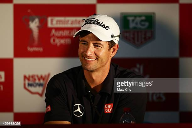 Adam Scott of Australia speaks to the media after his round during day two of the Australian Open at The Australian Golf Course on November 28 2014...