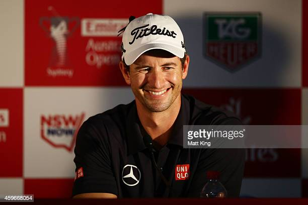 Adam Scott of Australia speaks to the media aftre his round during day two of the Australian Open at The Australian Golf Course on November 28 2014...