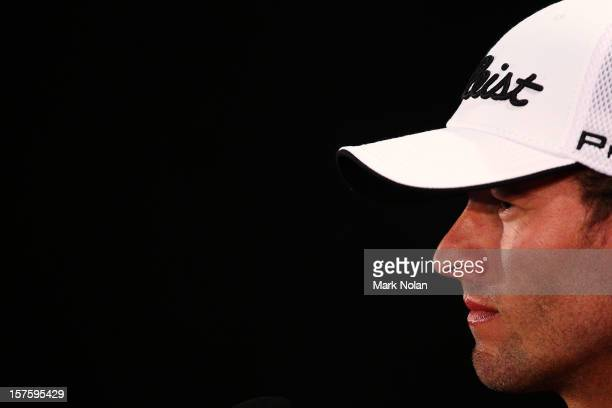 Adam Scott of Australia speaks to the media during a press conference ahead of the 2012 Australian Open beginning tomorrow at The Lakes Golf Club on...