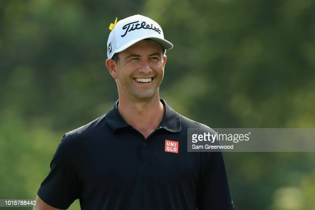 Adam Scott of Australia stands on the 12th hole during the final round of the 2018 PGA Championship at Bellerive Country Club on August 12 2018 in St...