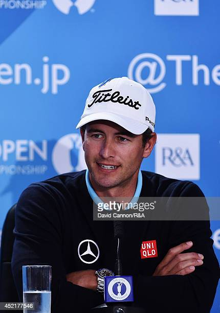 Adam Scott of Australia talks to the media during a press conference to the start of The 143rd Open Championship at Royal Liverpool on July 15 2014...