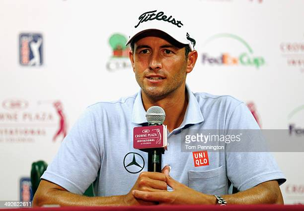 Adam Scott of Australia talks with the media prior to the start of the Crowne Plaza Invitational at Colonial on May 21 2014 in Fort Worth Texas Scott...