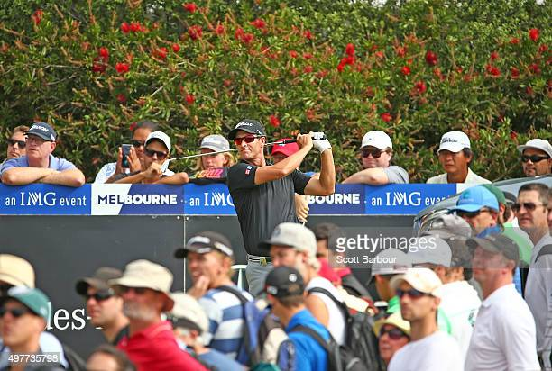 Adam Scott of Australia tees off during day one of the 2015 Australian Masters at Huntingdale Golf Course on November 19, 2015 in Melbourne,...