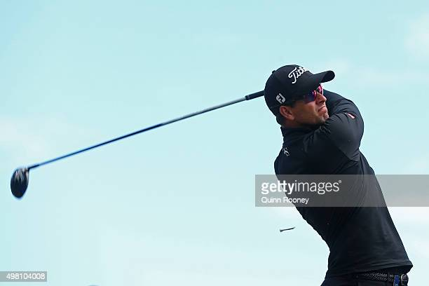Adam Scott of Australia tees off during day three of the 2015 Australian Masters at Huntingdale Golf Club on November 21, 2015 in Melbourne,...